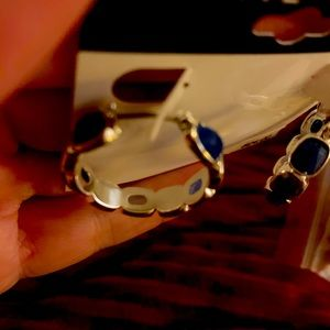 NWT Nine West blue faceted stone earrings
